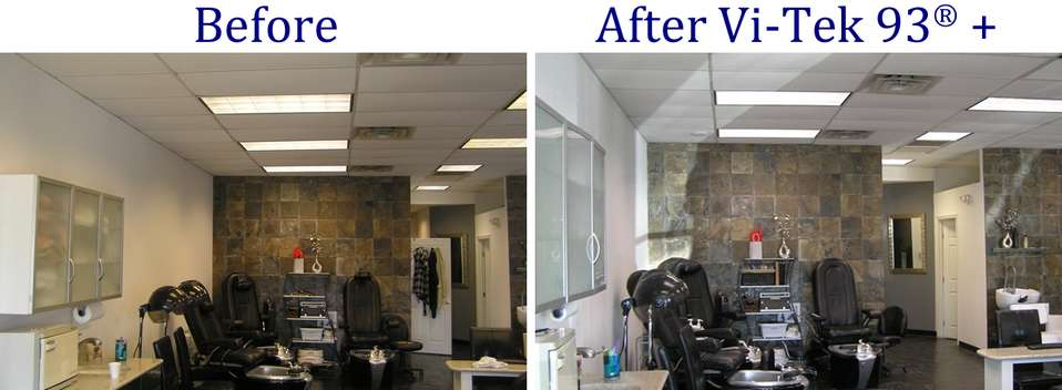 Before and after pictures of beauty salon lighting upgrade
