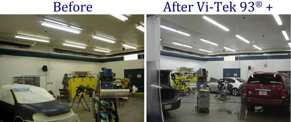 Before and after pictures of autobody lighting upgrade