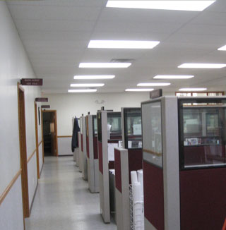 Office hallway with Vi-Tek 93 Plus lighting
