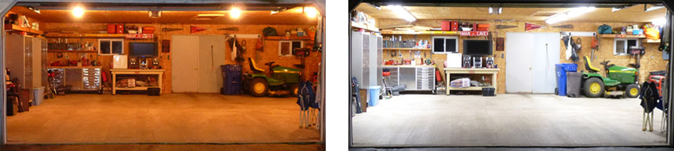 Before and after pictures of garage lighting upgrade
