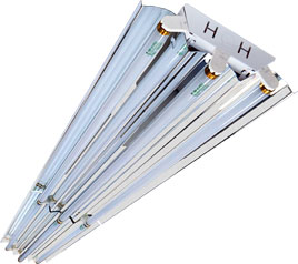 6 lamp, T8, 8-foot, high-efficiency garage fixture