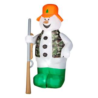 6' Tall, Air Blown Hunting Snowman, Inflatable Yard Decoration
