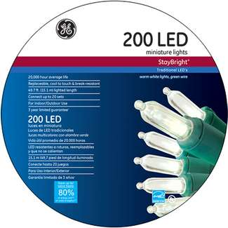 General Electric, 200 Light, Warm White, LED Staybright Light Set