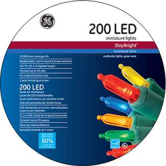 General Electric, 200 Light, Multi, LED Staybright Light Set
