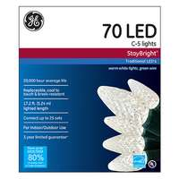General Electric, 70 Light, White, C5, LED Staybright Light Set