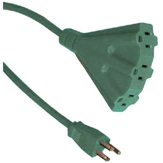 Master Electrician, 8', Green, 16/3, SJTW Outdoor Extension Cord, Triple Tap, UL Listed
