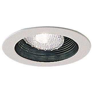 "4"" Adjustable Black Stepped Baffle with White Metal Ring"