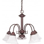 "Ballerina- 5 Light- 24""- Chandelier- w/ Alabaster Glass Bell Shades"