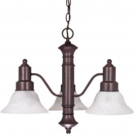 "Gotham- 3 Light- 23""- Chandelier- w/ Alabaster Glass Bell Shades"