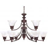 "Empire- 9 Light- 32""- Chandelier- w/ Alabaster Glass Bell Shades, 2 Tier"