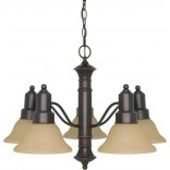 "Gotham 5 Light 25"" Chandelier with Champagne Linen Washed Glass"