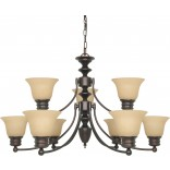 "Empire 9 Light 32"" Chandelier with Champagne Linen Washed Glass"