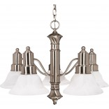 "Gotham- 5 Light- 25""- Chandelier- with Alabaster Glass Bell Shades"