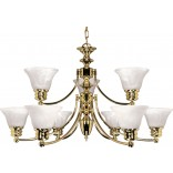 "Empire- 9 Light- 32""- Chandelier- with Alabaster Glass Bell Shades, 2 Tier"