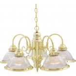 5 Light Chandelier Pol/Br Clear Ribbed