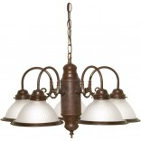5 Light Chandelier Old/Bronze Frost/Glass