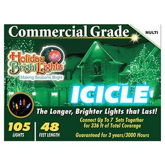 105 Light, Multi, Commercial Grade, Incandescent Icicle Light Set