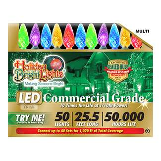 50 Light, Multi, C6, Commercial Grade, Super Bright LED Light Set