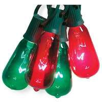 ST40 - Green & Red 10 Light Set Elongated Edison Style Bulb Sylvania