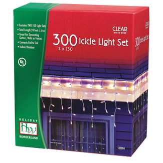 2 x 150 Icicle Light Set Clear - Incandescent