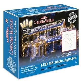 70 Icicle Light Set Warm White - M8 LED Commercial Grade