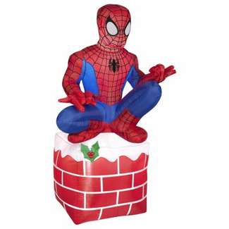 Airblown Christmas Decoration, Spiderman on Chimney, 42-In.
