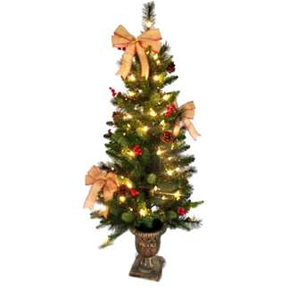 Christmas Porch Tree, Decorations + 70 Clear Lights, 4-Ft.
