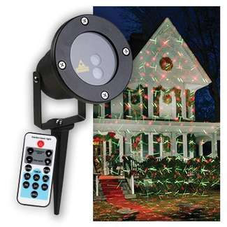 Holiday Star Laser Light Projector Red & Green Geometric Designs