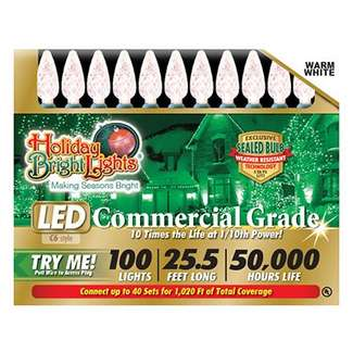 Christmas LED Light Set, C6, Commercial-Grade, Warm White, 100-Ct.