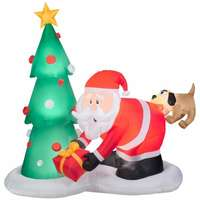 Airblown Christmas Decoration, Santa & Dog, 81-In.