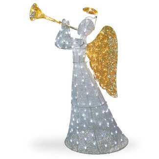 Holiday Wonderland Crystal Christmas Angel Decoration, Lighted, 60-In.
