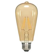 6.5W ST19 LED Transparent Amber Medium Base Light Bulb, 6.5W