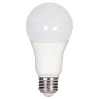 9.8 Watt; A19 LED; 3000K Medium base; 220' beam spread; 120 volts