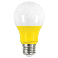 2 watt; A19 LED; Yellow when lit; Medium base; 120 volts