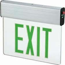 Green LED Single Face Edge-Lit Exit w/Battery Backup, Clear, White