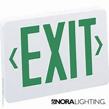 LED Exit Sign, 2 Circuit - Green Letters, White Housing