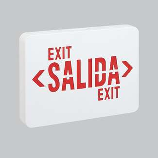 "LED Exit Sign Red ""Salida"" Letters, White Housing"