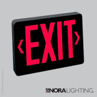 Red LED Exit with 2-Circuit, Black Housing