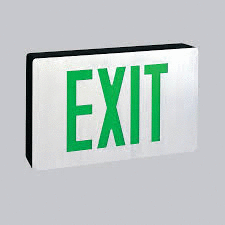 Green Universal LED Exit, Battery Backup, White Housing