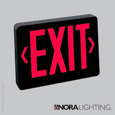 LED Exit Sign, AC Only - Red Letters, Black Housing