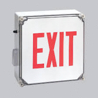 Red LED Wet Location Exit Sign with Battery Backup