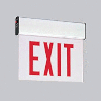 Red LED Double Face Edge-Lit Exit w/Battery Backup, Mirror, White