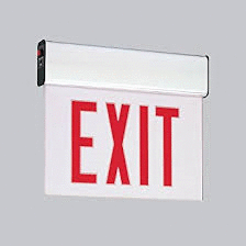 Red LED Single Face Edge-Lit Exit w/Battery Backup, Clear, Black