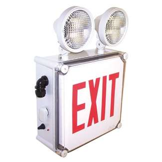 Wet Location LED Exit Emergency Light with Battery Back-up, Red