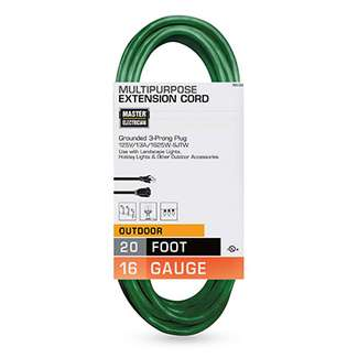 Master Electrician, 20', 16/3, SJTW, Green, Outdoor Extension Cord, 13A, 125W, 1625W, UL Listed.