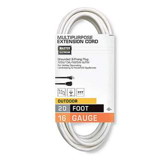 Master Electrician, 20', 16/3, SJTW, White, Outdoor Extension Cord, 13A, 125W, 1625W, UL Listed.