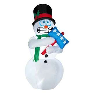 6' Animated Shivering Snowman Inflatable Yard Decoration