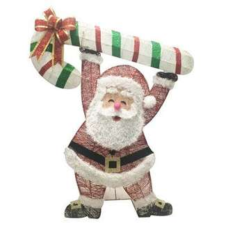 "48"" 3D Glitter Santa With Candy Cane"