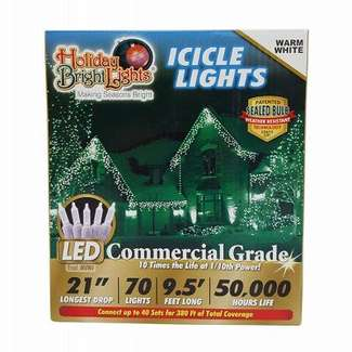 70 Icicle Light Set Warm White - T5 LED Commercial Grade