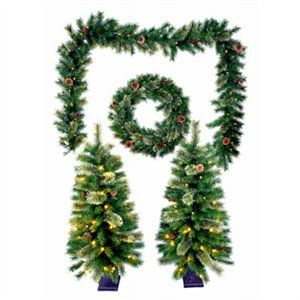 Pre-Lit Christmas Greenery Set, 5-Pc.